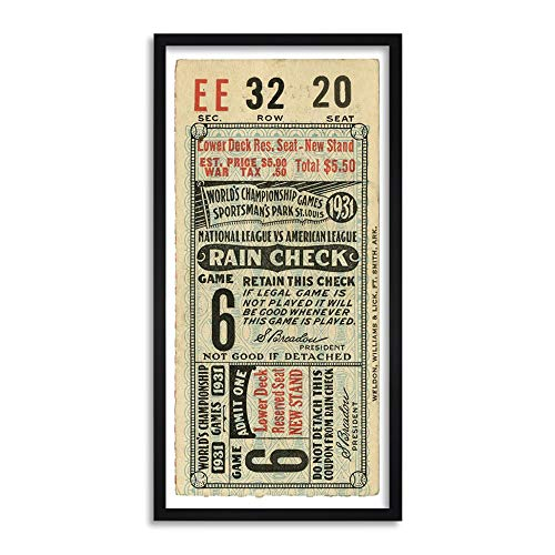 Antique 1931 Classic Baseball Ticket Long Framed Art Print Wall Poster 25x12 inch ()