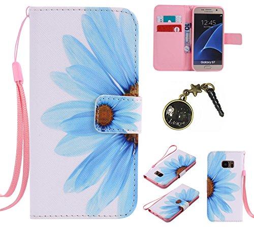 PU Galaxy S7Funda Flip Cover de Piel para Samsung Galaxy S7Flip Cover Funda Libro Con Tarjetero Función Atril magnético + Polvo Conector marrón 7 3