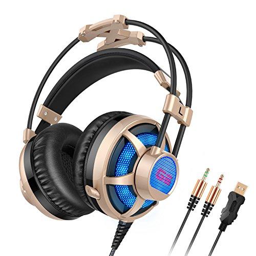 Honstek G6 PC Gaming Headset Over-Ear, LED, wit...