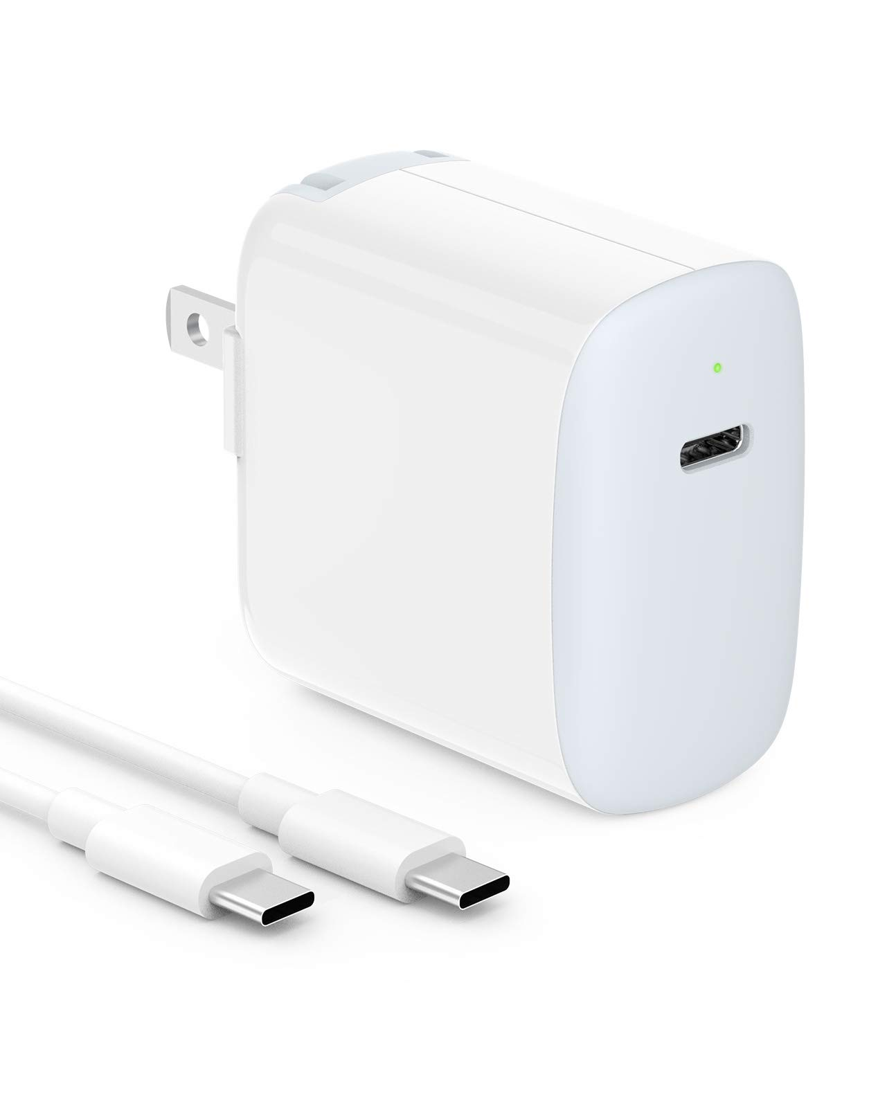 18W USB C Fast Charger Compatible with iPad Pro 12.9, Pro 11 inch 2020/2018, New Air 4 10.5, Google Pixel 5 4 3 2 XL 3A 4A 2XL 3XL 4XL Wall Charger, Foldable Plug, LED, 6.6ft USB C to C Charging Cord