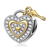"Best gift for her, NinaQueen ""Love You Forever"" 925 Sterling Silver Lock Key Heart Shape Charms"