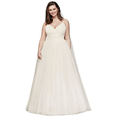 David\'s Bridal Pleated Tulle Plus Size Ball Gown Wedding Dress Style ...