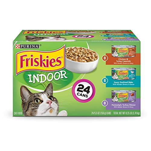 (Purina Friskies Indoor Wet Cat Food Variety Pack; Indoor - (24) 5.5 oz. Cans)