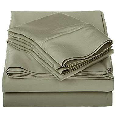 1200 Thread Count Premium Egyptian Cotton, Single Ply, King Bed Sheet Set, Solid, Sage