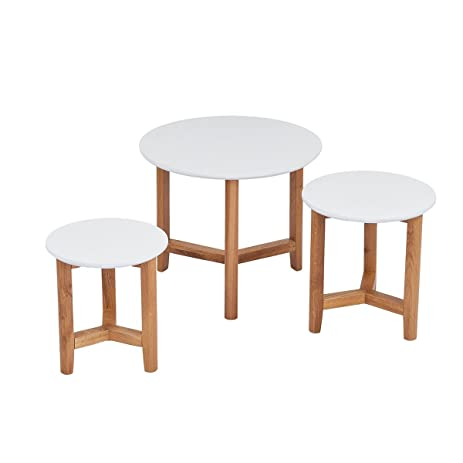 CLEARANCE Coffee Table Set Stacking End Side Table with Modern Design (Wood Set  sc 1 st  Amazon.com & Amazon.com: CLEARANCE Coffee Table Set Stacking End Side Table with ...