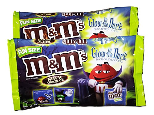 M&M's Fun Size Glow in the Dark Trick or Treat Halloween Candy Chocolate Snack Packs Pack of 2 (Milk Chocolate, 8.42 oz (Pack of 2))