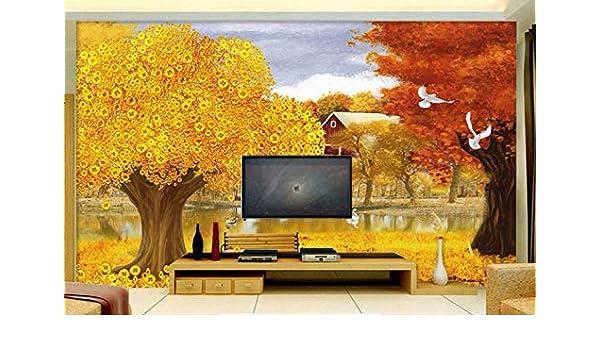 GBHL papel tapiz para paredes 3 d Árbol de dinero amarillo murales ...