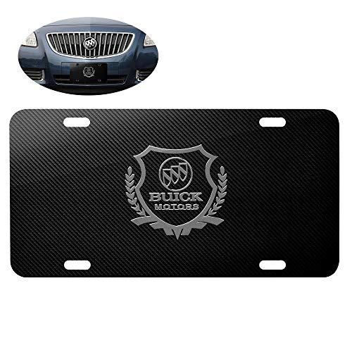 99 Carpro Stainless Steel License Plate for Buick, Carbon Fiber Front License Plate Frames Covers with Buick Logo Emblem (Black) (Buick License Plate)