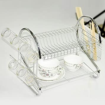 Tier Chrome Plated Dish Cutlery Cup Drip Tray Plates Holder Keep All The Cooking Utensils And & Amazon.com: Tier Chrome Plated Dish Cutlery Cup Drip Tray Plates ...