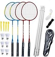 Airsnigi Badminton Set, Portable Outdoor Badminton Combo Set Badminton Net System, Fun Lawn or Beach Game Sets