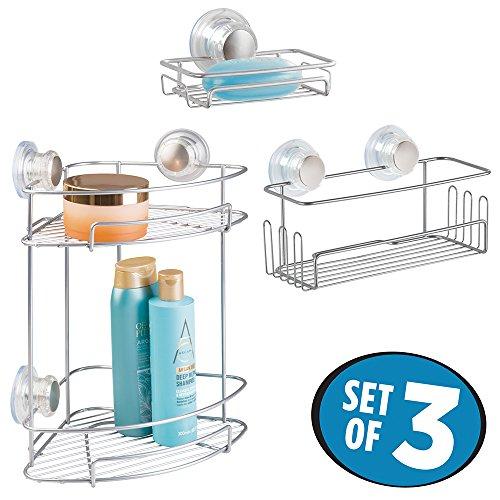 mDesign Bathroom Suction Shower Basket
