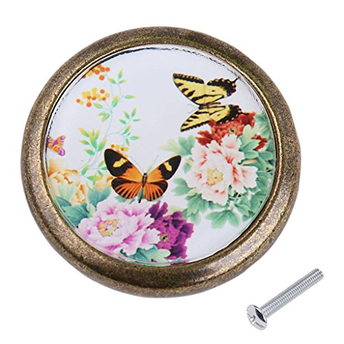 Drawer Butterfly Knob (MagiDeal Vintage Round Cabinet Door Drawer Bin Handle Pull Knob Hardware Peony and Butterfly Pattern)