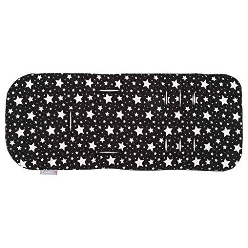 Comfi-Cush Memory Foam Stroller Liner - Black & White Stars