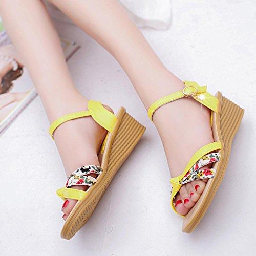 Saingace Damen Sommer Sandalen Schuhe Peep-Toe Low Schuhe Römische Sandalen Damen Flip Flops Gelb