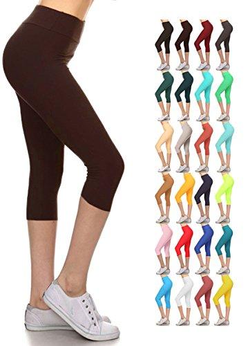 Leggings Depot Women's Yoga Gym High Waist Reg/Plus Solid and Printed Workout Capri Leggings Pants 16+Colors (Brown, Plus Size (Size L-2X / Size 12-20))