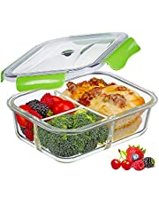 PREMIUM QUALITY 1040 ML 3 Compartment Glass Lunch box/Food Storage Containers - Meal Prep BPA Free Lunch Containers with Smart For Snap Locking Tritan Lid Guarantee 100% Airtight Leakproof …