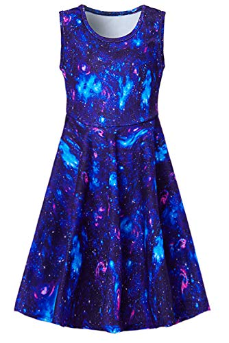 Leapparel Kids Girls Dresses Summer Cartton Fish Scale Print Dess Blue Birthday Party Costumes Dress Cloths -6