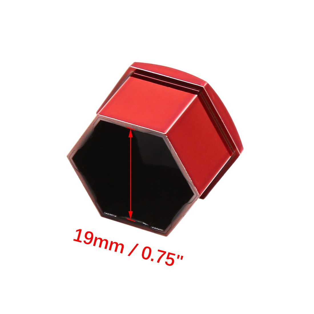 Sourcingmap 20pcs Red 19mm Car Wheel Lug Nut Cap Tyre Hub Screw Bolt Dust Cover Protector