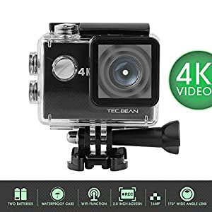 TEC.BEAN 900 4K Action Camera, FHD LCD Display Screen, Waterproof with Built in Wi-Fi, Batteries and Accessories included, Black