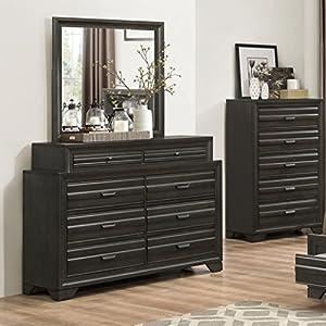 roundhill furniture loiret 236 antique grey and mirror kitchen dining. Black Bedroom Furniture Sets. Home Design Ideas
