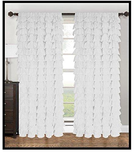 Watterfall Ruffled Fabric Window Curtain (white)