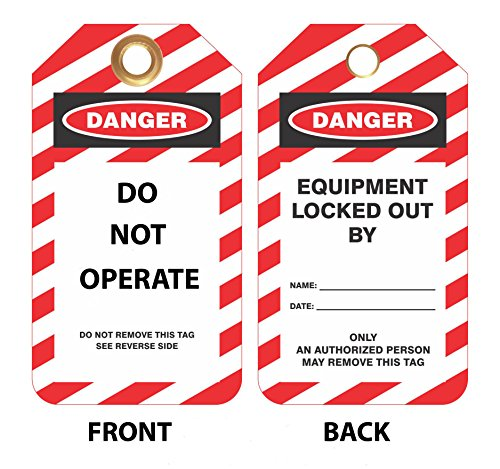 """Lockout Safety Supply 7343 Lockout Tag, Danger-Do Not Operate, 5-3/4""""X3, 10 Pack, High Impact Plastic, Red/White/Black"""