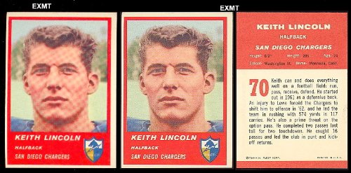 1963 San Diego Chargers - 1963 Fleer Regular (Football) Card# 70 Keith Lincoln of the San Diego Chargers ExMt Condition