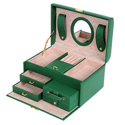 Songmics Schmuckkasten Schmuckkoffer abschließbar mit Spiegel grün JBC132L