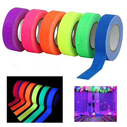 6 Pack UV Blacklight Reactive Fluorescent Cloth Tape Glow in The Dark Neon Gaffer Tape Birthday Christmas Party ()