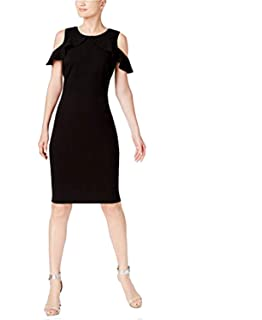 Calvin Klein Womens Cold Shoulder Knee Length Party Dress at
