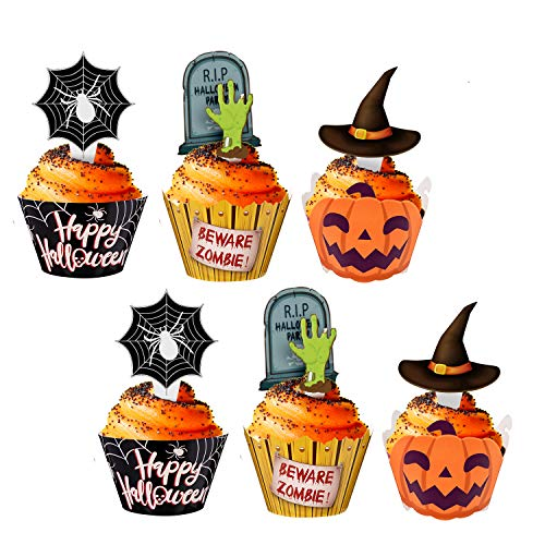 (Halloween Cupcake Toppers Wrappers - Spider Web Pumpkin Zombie Hand Cake Party Decorations)