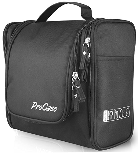 (ProCase Toiletry Bag with Hanging Hook, Organizer for Travel Accessories, Makeup, Shampoo, Cosmetic, Personal Items, Bathroom Storage with Hanging, Large, Black)