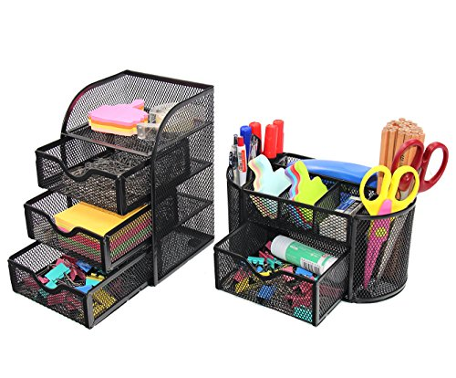 PAG Office Supplies Mesh Desk Organizer Set Pen Holder Mini Accessories Storage Caddy with Drawer, Black