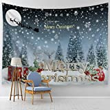 "ALFALFA Wall Hanging Nature Art Christmas Tapestry, Christmas Decoration for Dorm Room, Bedroom,Living Room - 90"" W x 71"" L (230cmx180cm) - Christmas Tree in Snowing Day"
