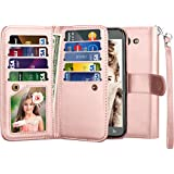 Njjex For Galaxy J7 V Case, For Galaxy J7 Sky Pro/J7 Perx Wallet Case, PU Leather [9 Card Slots] ID Credit Flip Cover [Detachable] [Kickstand] Cover & Wrist Strap For Samsung Galaxy J7 2017-Rose Gold