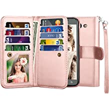 Galaxy J7 V Case, Galaxy J7 Sky Pro/ J7 Perx Wallet Case, Njjex [9 Card Slots] PU Leather ID Credit Flip Cover [Detachable] [Kickstand] Phone Case & Wrist Strap For Samsung Galaxy J7 2017 - Rose Gold