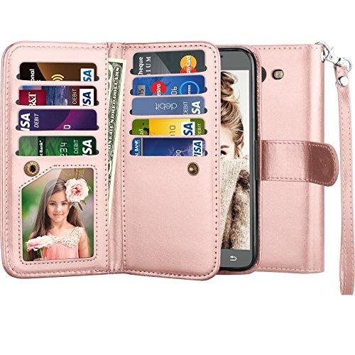 Galaxy J7 V Case, Galaxy J7 Sky Pro/ J7 Perx Wallet Case, Njjex [9 Card Slots] PU Leather ID Credit Flip Cover [Detachable] [Kickstand] Phone Case & Wrist Strap For Samsung Galaxy J7 2017 - Rose Gold (Galaxy S 5 Sprint Used)