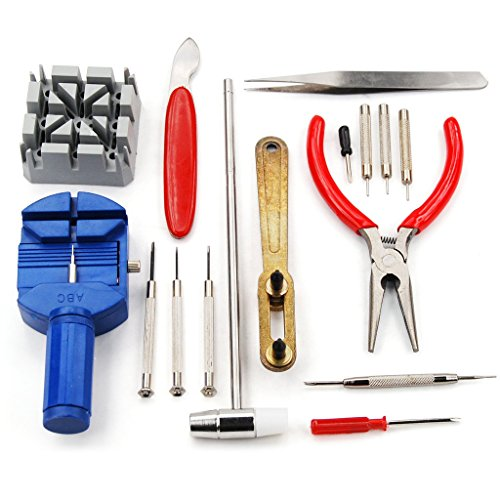 Happy Hours Professional Watch Link Opener Repair Remover Holder Spring Bar Tool Kit Set Pin Screwdriver 16pcs Set ()