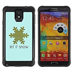 Paccase / Suave TPU GEL Caso Carcasa de Protección Funda para - Gold Blue Snow Quote Winter - Samsung Note 3
