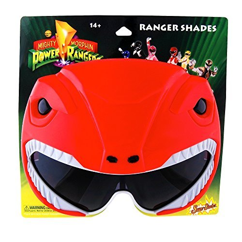 Sun-Stache Officially Licensed Power Rangers Sunstaches Sunglasses, Red -
