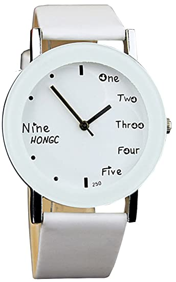 Bozz fácil leer jóvenes niños estudiante niños relojes blanco + blanco