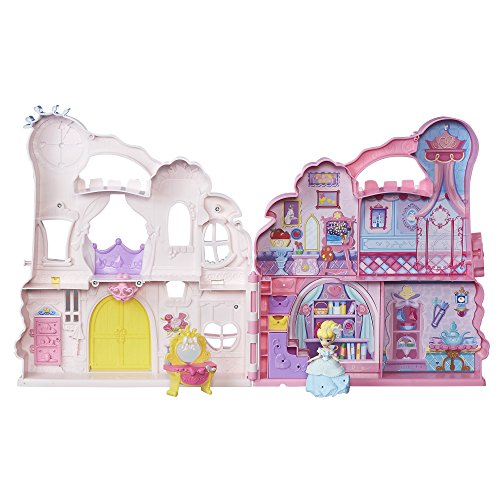 Disney Princess Little Kingdom Play 'n Carry Castle - Triple Functions as Magical Playset, Carrier, and Storage - Includes Carrying Case, Cinderella Doll, and Accessories ()