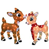ProductWorks 32'' Rudolph Pre-Lit 2D Yard Art Rudolph and Clarice Standing