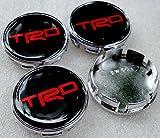 trd wheel center cap - 4x Cap 56 MM TRD LOGO Sticker Resin Red Text Center Wheel Caps Cover Toyota Hub Rim Chrome