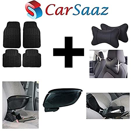 Carsaaz Car comfort Combo   Armrest console + Foot Mats + Neck cushion  Black for Datsun Redi Go
