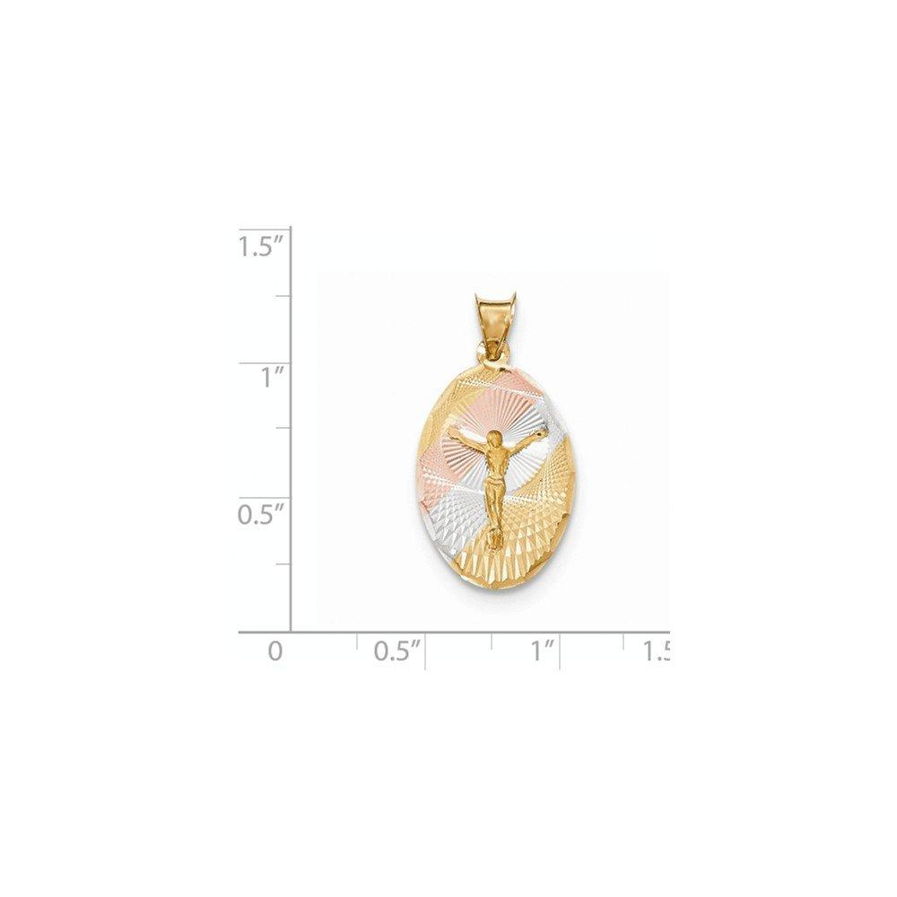 Diamond2Deal 14k Yellow Gold Rhodium Plated CORPUS Oval Pendant