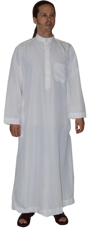 Men Saudi Arab Style Thobe Thoub Abaya Robe Daffah Dishdasha Islamic Caftan Large 58 inches Long Treasures Of Morocco Jamal White 58