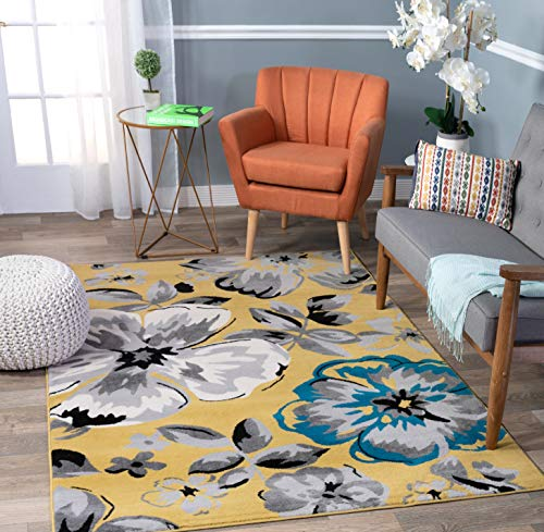 Rugshop Modern Floral Area Rug 5' x 7' Yellow (Large Rug Area Yellow)
