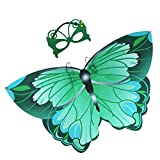 wire butterfly wings - iROLEWIN Kids Dreamy Butterfly Wings Costume for Girls Fancy Dress Up Pretend Play Party Favor (#03 Green Butterfly Wings with Masks)