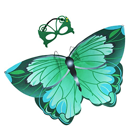 Kids Fairy Butterfly Wings Costume and Mask for Toddler Girls Dress up Pretend Play Birthday Party Favor (#03 Green Butterfly Wings with Masks)